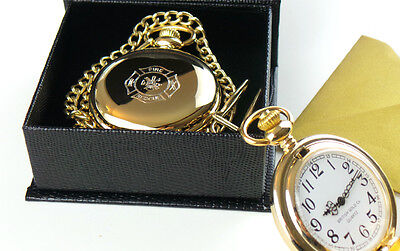 £28.95 • Buy FIREFIGHTER 24ct GOLD POCKET WATCH And Chain FIREMAN FIRE & RESCUE BRIGADE GIFT