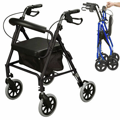 £91.66 • Buy Ultra Lightweight Rollator Mobility Walker 4 Wheeled Walking Aid Frame With Seat