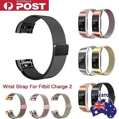 AU16.55 • Buy For Fitbit Charge 2 Band Metal Stainless Steel Milanese Loop Wristband Strap