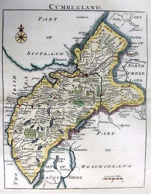 CUMBERLAND PENRITH KESWICK  BY JOHN ROCQUE GENUINE COPPER ENGRAVED MAP  C1769 • 39.99£