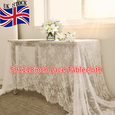 Rectangle White Lace Tablecloth Home Party Wedding Table Cloth Cover 150x300cm • 11.99£