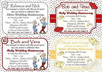 10 Personalised Wedding Anniversary Invitations 25/30/40/50/60 ALL YEARS W/env  • 3£