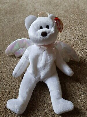 Halo Bear Ty Beanie Baby (really Rare) Collectable White 1998 Perfect Condition! • 399.99£