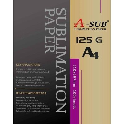 A-SUB Sublimation Paper A4, 100 Sheets, For EPSON, RICOH GX, SAWGRASS Printers • 13.99£