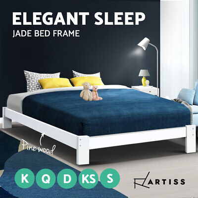 AU128.95 • Buy Artiss Bed Frame Single Double Full Queen King Size Wooden Bed Base Frame Timber