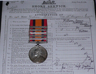 QSA MEDAL 5 CLASPS TO 3rd DRAGOON GUARDS + Papers, Rolls & WWI Service • 210£
