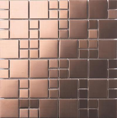 Brushed Copper Effect Stainless Steel Mosaic Tiles (MT0174) • 9.99£