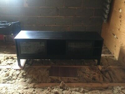 Black Tv Cabinet With Glass Sliding Doors But Scratches To The Top • 20£