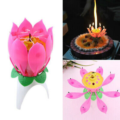 $ CDN3.07 • Buy Creative Lotus Candle Birthday Flower Musical Floral Cake Candles /w Music Magic