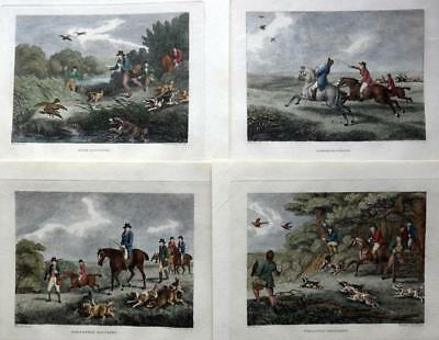 HAWKING SET OF 4 COPPER PLATE ENGRAVINGS BY SAMUEL HOWITT HAND COLOUR  C1806 • 119.99£