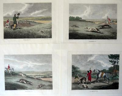 COURSING GREYHOUNDS 4 SET COPPER  ENGRAVINGS BY SAMUEL HOWITT HAND COLOUR  C1806 • 119.99£