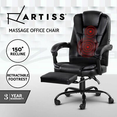 AU152.95 • Buy Artiss Massage Office Chair Reclining Leather Computer Gaming Seat Footrest