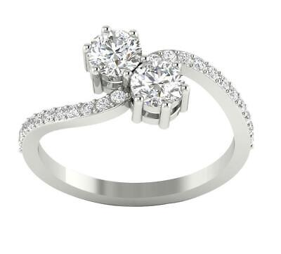 £747.86 • Buy Forever Us 2 Stone Engagement Ring Round Diamond I1 G 1.45 Ct 14K Solid Gold
