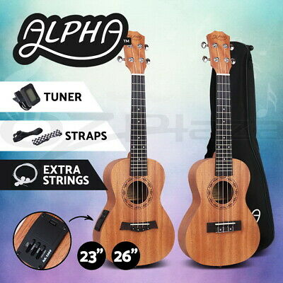 AU89.95 • Buy Alpha 23  26  Concert Tenor Ukulele Mahogany Ukuleles Uke W/ EQ Tuner Carry Bag
