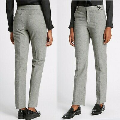 £24.99 • Buy M&S Italian WOOL With Silk & Cashmere STRAIGHT Leg TROUSERS ~ Var. Sizes ~ GREY