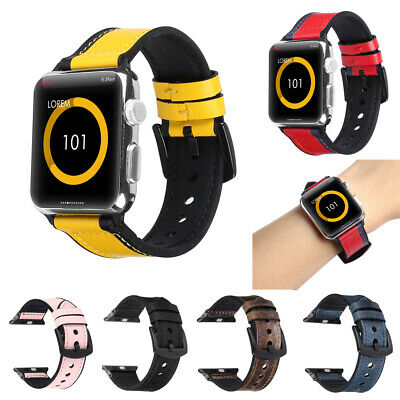 $ CDN13.97 • Buy For IWatch Apple Watch Series 4 3 2 1 Genuine Leather Bands Strap Cuff Bracelets