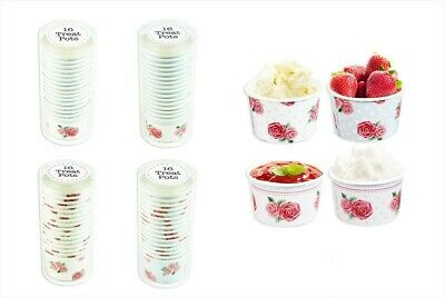 32 Paper Ice Cream Tubs Sweet Treat Pots Summer Party Cake Lunch Afternoon Tea • 5.98£