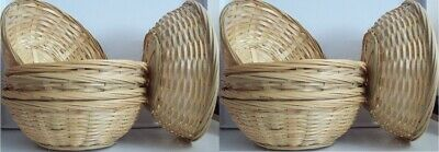 12 Natural Small Woven Bamboo Round Wicker Basket Storage Bread Chip Snack Bowl • 13.49£