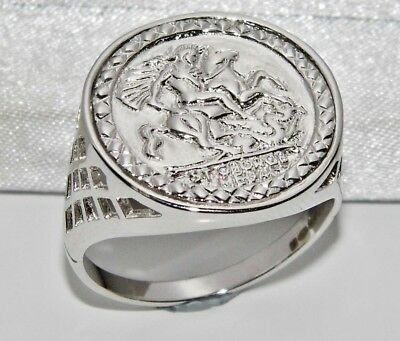 £19.95 • Buy Sterling Silver Sovereign Coin Ring - ALL SIZES Inc Large - St George - Men's