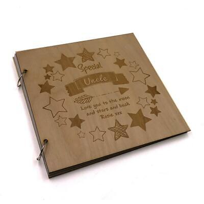 Personalised Special Uncle Engraved Large Wooden Scrapbook Photo Album LWOD-26 • 14.99£