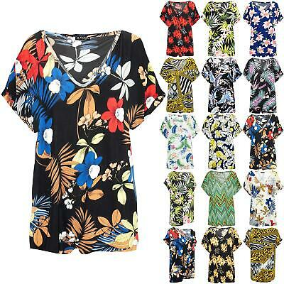 Womens Ladies Printed Oversized Baggy Top Loose V Neck Turn Up Batwing T Shirt • 6.49£