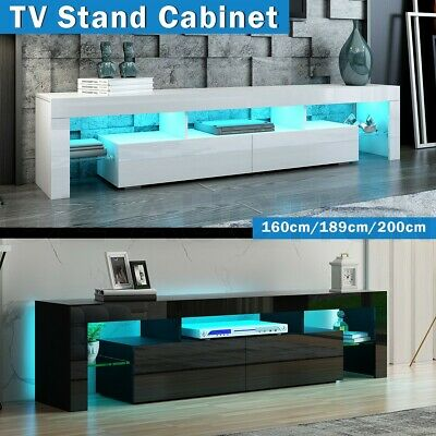 AU219.95 • Buy 189/200cm TV Stand Cabinet Wood Entertainment Unit Storage White/Black W/RGB LED