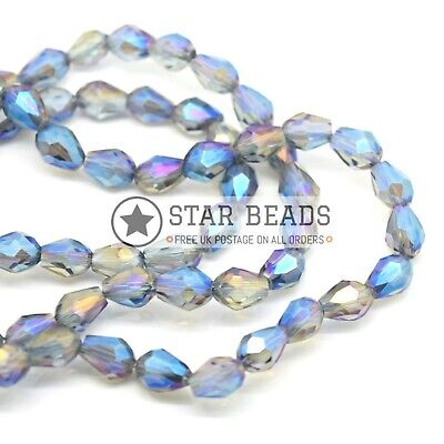 Faceted Teardrop Glass Beads Grey Ab  - Pick Size • 2.65£