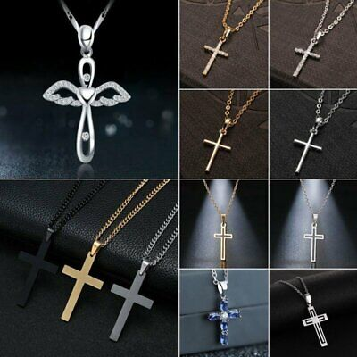 $1.01 • Buy Stainless Steel Cross Pendant Link Chain Men Metal Necklace Father's Day Jewelry