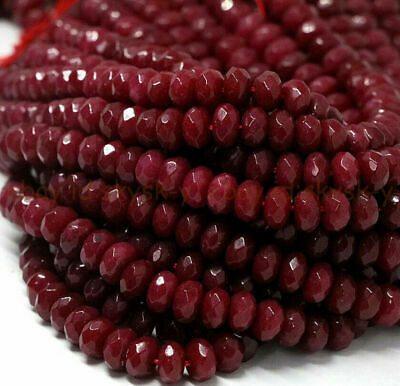 $ CDN3.57 • Buy Genuine Natural Faceted Brazil Red Ruby Gemstone Rondelle Loose Beads 4/6/8mm