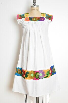 89739d5987e Vintage Mexican Dress White Colorful Floral Embroidered Babydoll Hippie Boho  XS • 54.00