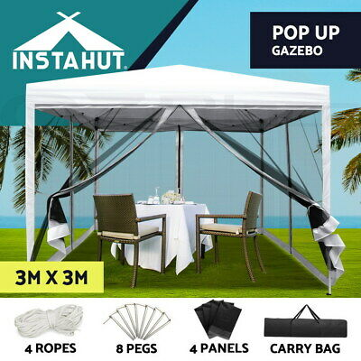 AU125.90 • Buy Instahut Gazebo Pop Up Marquee 3x3 Wedding Mesh Side Wall Outdoor Gazebos White
