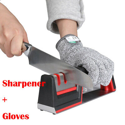 $12.97 • Buy 3 Stages Knife Sharpener Diamond Coated Kitchen Handheld Sharpening Stone Gloves