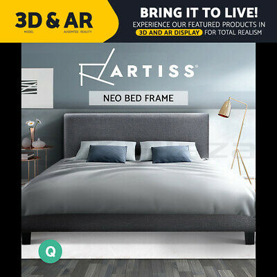 AU142.95 • Buy Bed Frame Queen Size Base Mattress Platform Full Size Fabric Wooden Grey NEO