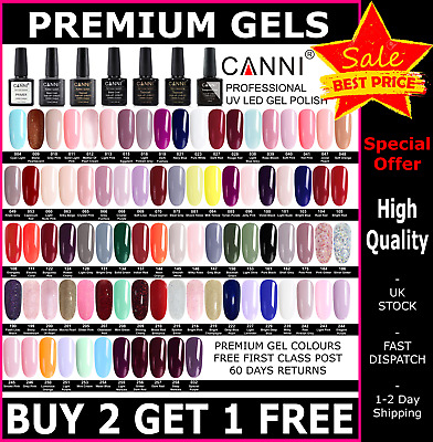 Premium Nail Gel Polish 7.3ml UV LED Set CANNI Colour Varnish Glitter 36K SOLD • 3.95£