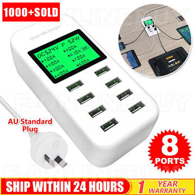 AU30.95 • Buy USB Hub Charging Station 8 Port Phone Charger Multi Dock Charger Power Adapter