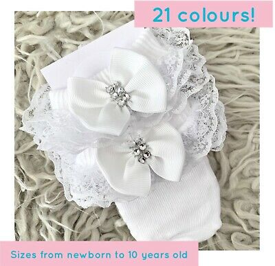 £3.99 • Buy Girls Baby Frilly Lace Ankle School Socks With Ribbon And Rhinestone Mesh