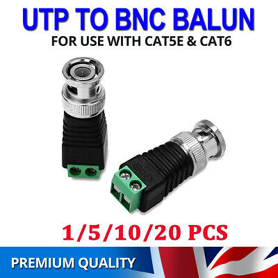 CAT5 To BNC Male Connector Adapter Plug CCTV Camera Video Coaxial Balun Cable UK • 4.25£
