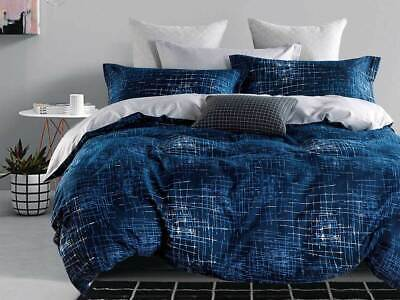 AU58.50 • Buy  Navy Blue Quilt Cover 3pcs QUEEN Or KING Modern Milton Doona Cover Set