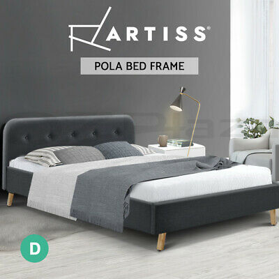 AU89.95 • Buy Artiss Bed Frame Double Full Size Base Mattress Fabric Wooden Charcoal