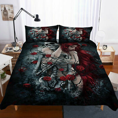 3D Skull Duvet Quilt Cover Set Pillowcase Gothic Bedding Set Single Double King • 33.99£