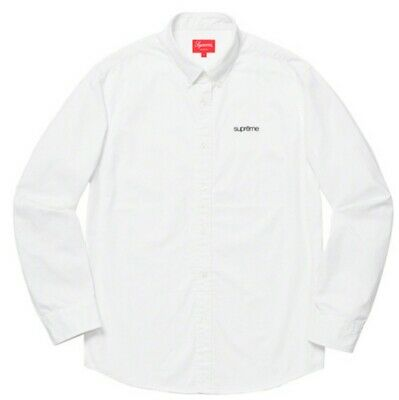 $ CDN369 • Buy 🔥Supreme Classic Logo Washed Twill Shirt Size S White