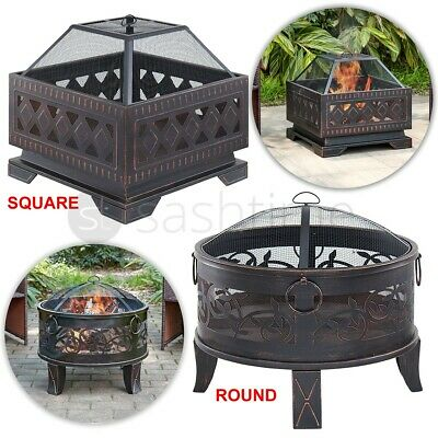 Outdoor Fire Pit BBQ Firepit Brazier Garden Table Stove Patio Heater Grill Poker • 99.95£