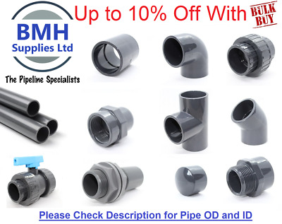 PVC-U Inch Pressure Pipe & Fittings Solvent Weld 1/2  To 2  WRAS. Bulk Discounts • 1.94£