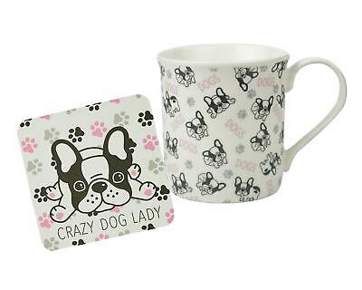 Mug & Coaster Set Crazy Dog Lady Dogs French Bulldog Home Office Coffee Tea Cup • 6.99£