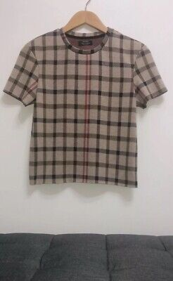 AU19 • Buy BERSHKA Short Sleeves Top With Geometric Square Patterns Size EUR M