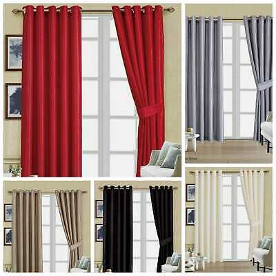£22.99 • Buy Fully Lined Ring Top Curtains Dynmic Pair Eyelet 100% Faux Silk With Tie Backs