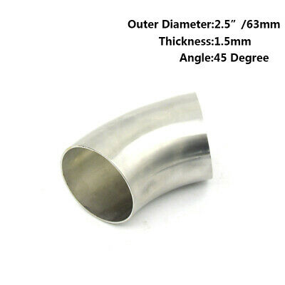 2.5'' Stainless Steel 45° Degree 63mm Bend Elbow Weld Exhaust Pipe Replace Part • 6.35£