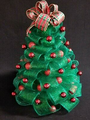 15  Green Mesh Netting Christmas Tree Red  Balls Plaid Ribbon Holiday Decor • 20.24£