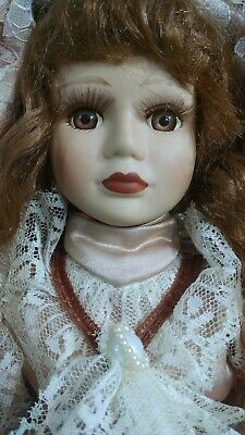 $ CDN26.13 • Buy Porcelain Victorian Doll, Curly Brown Hair, Brown Eyes Pink Dress 19  Tall Stand