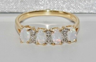 9CT YELLOW GOLD & SILVER OPAL & DIAMOND LADIES ETERNITY RING ~ Size N • 39£